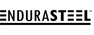 EnduraSteel logo for https://www.endurasteel.com stainless steel tables web site in black for site link